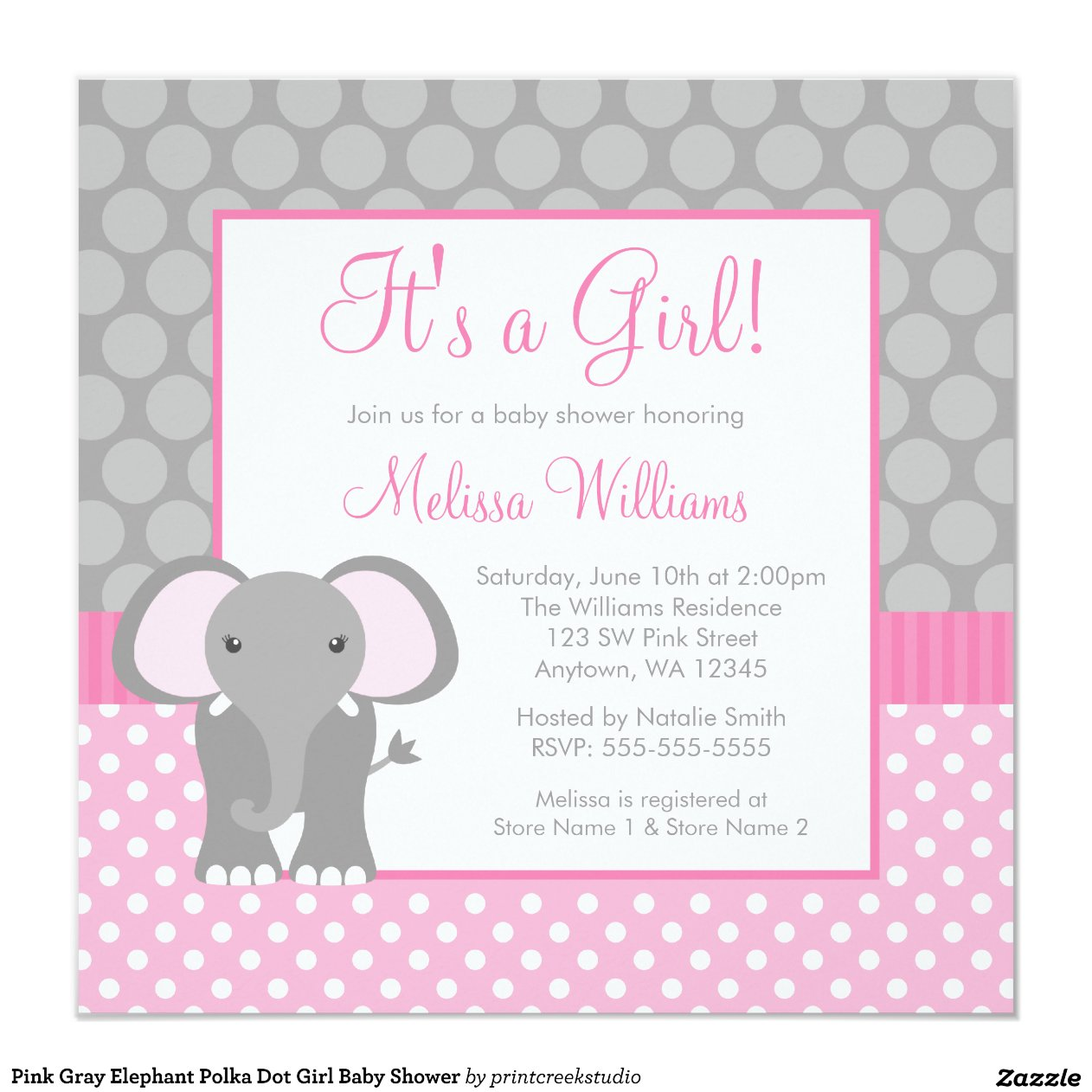 Pink And Gray Elephant Baby Shower Invitations