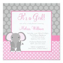 Pink Gray Elephant Polka Dot Girl Baby Shower Invitation