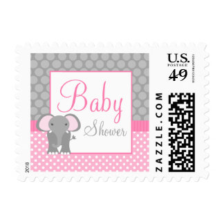 Pink Gray Elephant Polka Dot Girl Baby Shower Postage