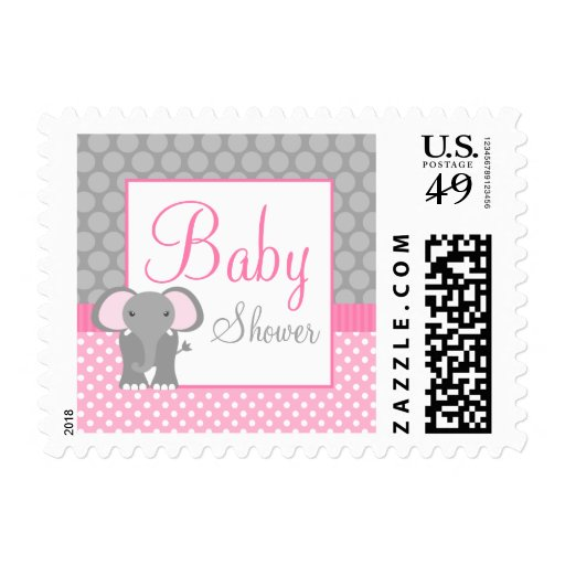 Pink Gray Elephant Polka Dot Girl Baby Shower Stamps