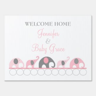 Pink & Gray Elephant Welcome Home Mom and Baby