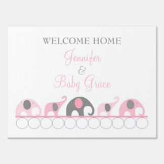Pink & Gray Elephant Welcome Home Mom and Baby Signs