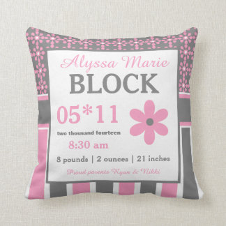 Pink Gray Floral Baby Announcement Pillow
