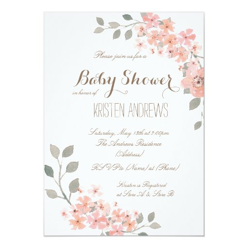 pink gray floral baby shower invitation zazzle