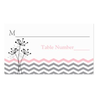 Pink, Gray Floral, Chevron Stripes Place Card