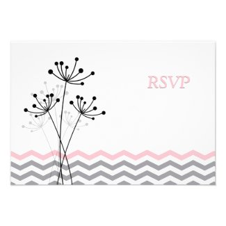 Pink, Gray Floral, Chevron Wedding RSVP Card