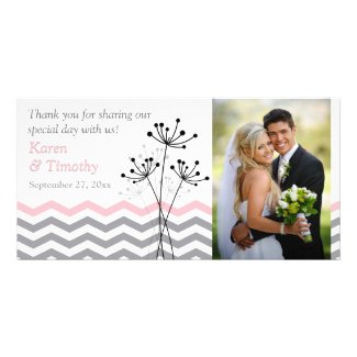 Pink, Gray Floral, Chevrons Wedding Photo Card