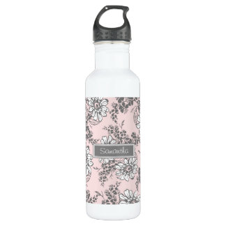 Pink Gray Floral Custom Name Water Bottle
