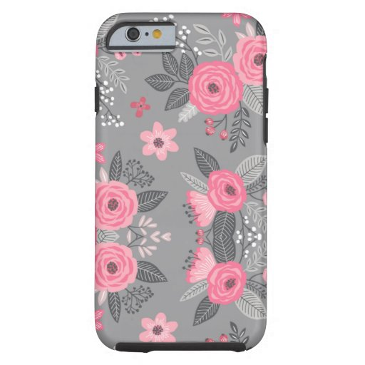 Pink & Gray Floral phone case
