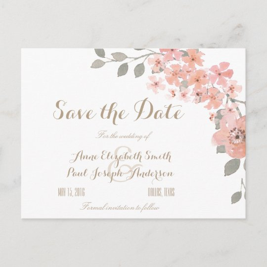 pink gray floral save the date announcement postcard zazzle com