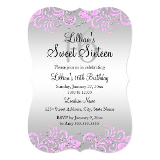 Pink Gray Floral Swirl Sweet 16 Invite