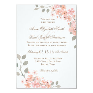 Pink & Gray Floral wedding invitation