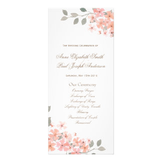 Pink & Gray floral Wedding Program