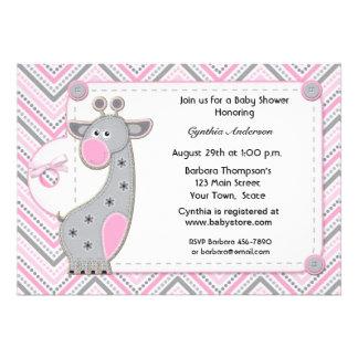 Pink Gray Giraffe Chevron Baby Shower Invitation