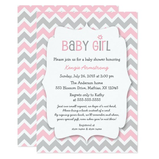 Pink Gray Girl Baby Shower Invites Bring A Book Zazzlecom