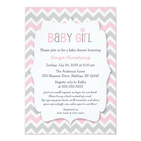 Pink Gray Girl Baby Shower Invites Bring A Book Zazzle