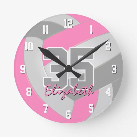 pink gray girls personalized volleyball round clock