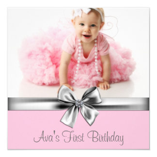 Pink Gray Girls Photo Birthday Party 5.25x5.25 Square Paper Invitation Card