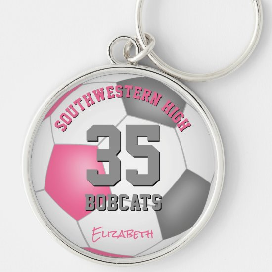 pink gray girls sports team name soccer keychain