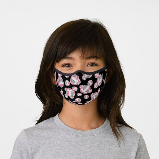pink gray girly monogrammed volleyball premium face mask