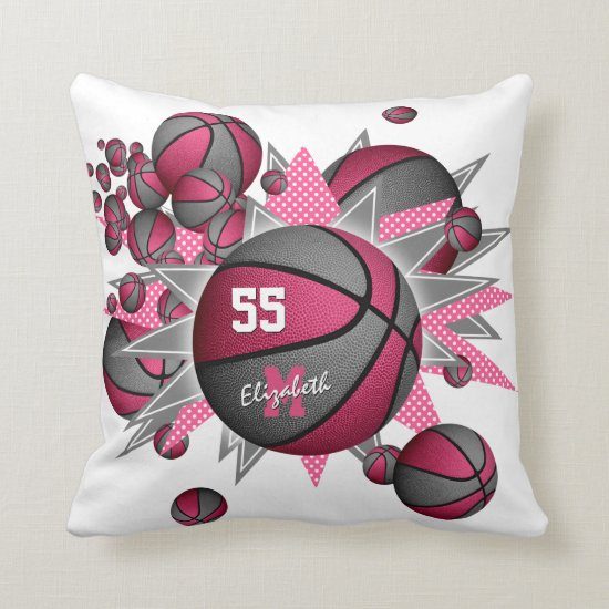 pink gray girly sports decor basketball blowout throw pillow