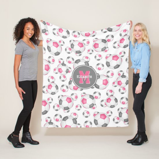 pink gray girly sports pattern soccer room decor fleece blanket