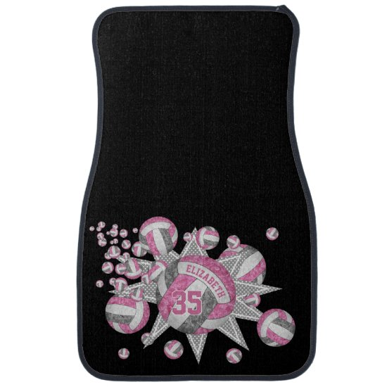 pink gray girly volleyball blowout personalized car floor mat