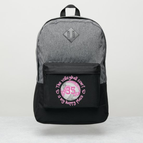 pink gray girly volleyball court is my happy place port authority® backpack