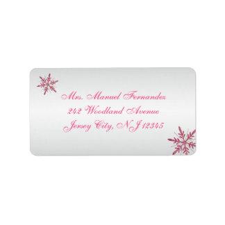 Pink, Gray Glitter Snowflakes Return Address Label