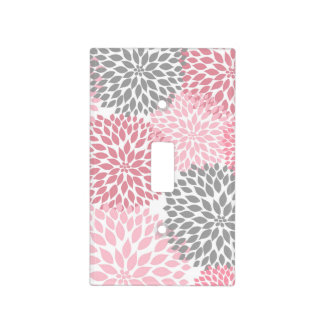 pink gray grey mums dahlias switch cover / nursery