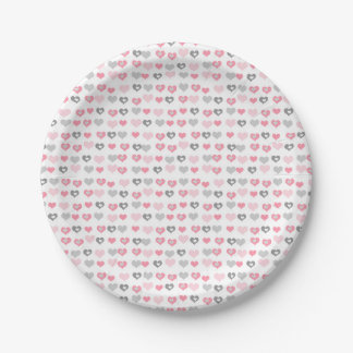 Pink Gray hearts Valentine's Day or Baby shower Paper Plate