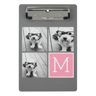 Pink Gray Instagram Photo Collage Custom Monogram Mini Clipboard