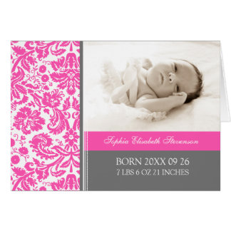 Pink Gray It's a Girl Photo Birth Announcement