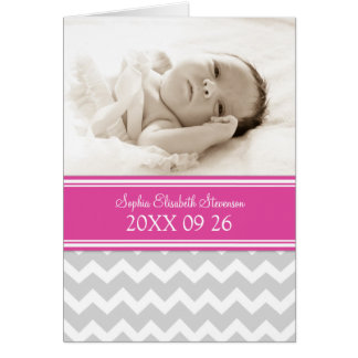 Pink Gray It's a Girl Photo Birth Announcement Greeting Card