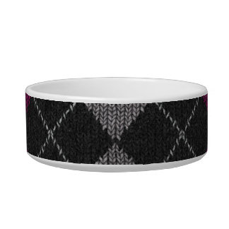 Pink & Gray Knit Argyle Pattern Bowl