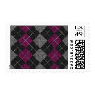 Pink & Gray Knit Argyle Pattern Postage