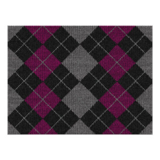 Pink & Gray Knit Argyle Pattern Poster