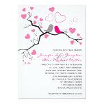 """Pink, Gray Lovebirds & Hearts Wedding Invitation 5"""" X 7"""" Invitation Card"""