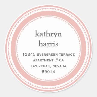 Pink gray medallion modern circle address label
