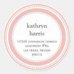 Pink gray medallion modern circle address label stickers