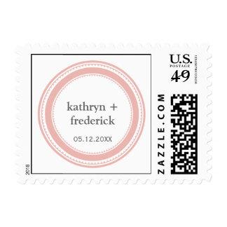 Pink gray modern circle frame chic custom monogram postage stamp