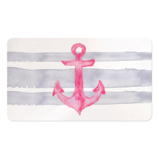 Pink gray modern watercolor anchor stripes pattern Double-Sided standard business cards (Pack of 100)