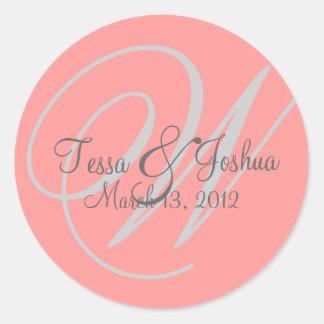 Pink & Gray Monogram Wedding Initial Seal Sticker Round Sticker