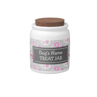 Pink Gray Paisley Pattern Dog Treat Jar Candy Jars