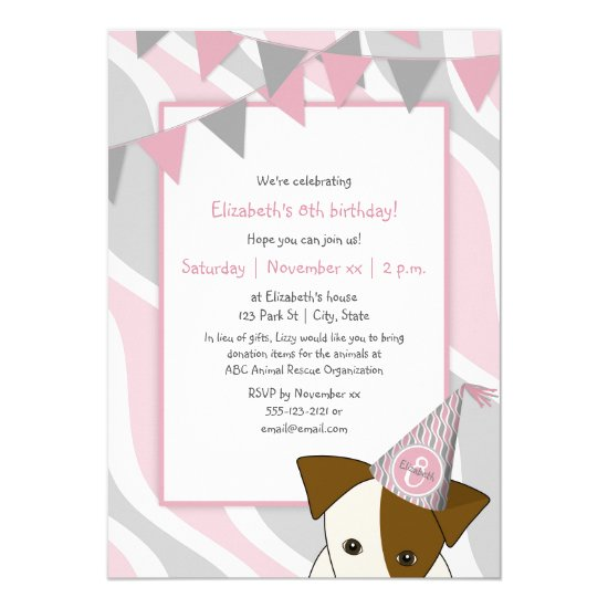 pink gray party puppy peeking girl's birthday invitation