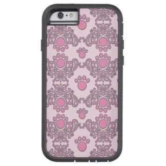 Pink/Gray Paw Print Damask iPhone 6 Case