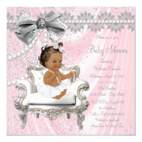 Pink Gray Pearl Chair Ethnic Girl Baby Shower