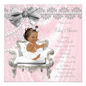 Toddler & Baby themed Pink Gray Pearl Chair Ethnic Girl Baby Shower Card