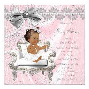 Pink Gray Pearl Chair Ethnic Girl Baby Shower Invitation