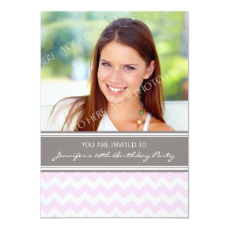 Pink Gray Photo 20th Birthday Party Invitations